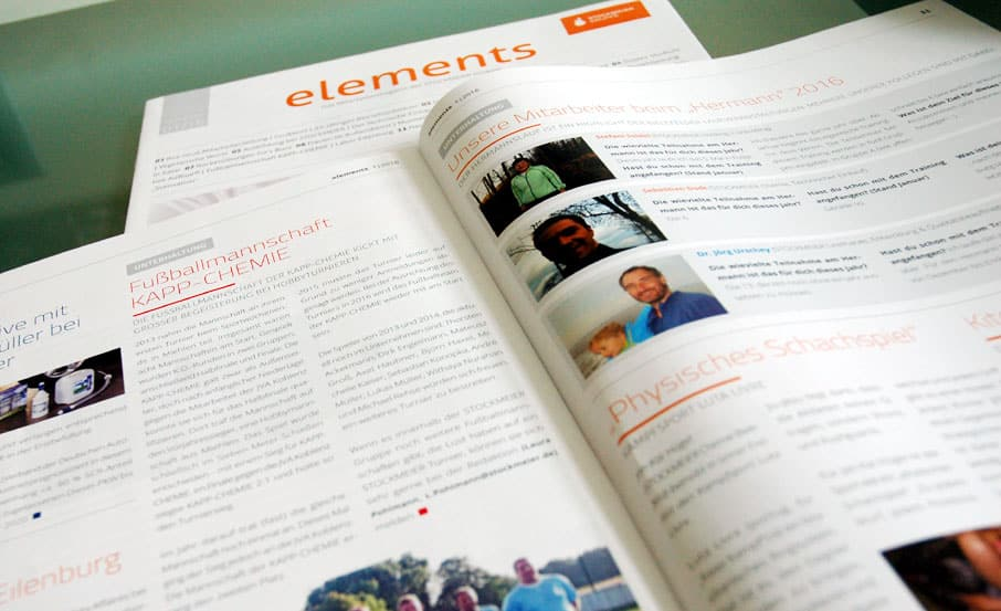 "Internes Technology Marketing: Mitarbeitermagazin ""elements"""